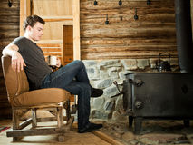 Free Lonely Man Relaxing With Slippers And Cup Of Coffee. Stock Images - 50967414