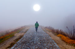 Lonely man running toward the sun on misty morning royalty free stock photography
