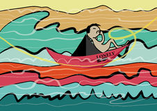 Lonely man sailed to ocean cartoon illustration Royalty Free Stock Images