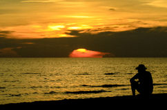 Lonely man silhouette Royalty Free Stock Image