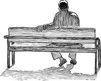 A lonely man sits on a bench. Vector drawing of a person resting on a park bench Royalty Free Stock Photos