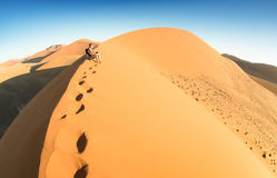 Lonely man sitting on sand at Dune 45 in Sossusvlei Namibia Stock Photos