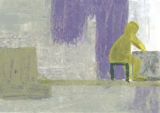 Lonely man sitting by the window. Acrylic abstraction. The old man in the room looks out the window. Sadness, loneliness, emptiness royalty free illustration