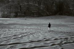Lonely Man standing in Jordan Desert Royalty Free Stock Photo