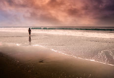 Lonely man walking at beach. One man walking lonely at the dramatic and beautiful beach royalty free stock photography