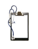 A lonely medical desk and a stethoscope on white Stock Photos