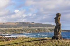 Lonely moai, Ahu Tahai, Easter Island, Chile Stock Photo