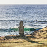 Lonely Moai in the sea bank. In Easter Island royalty free stock photos