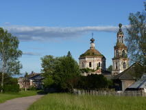 Lonely monastery in the midland of Russia. Summer view of lonely monastery nearby the village in the midland of Russia, Tverskaya region Stock Photography