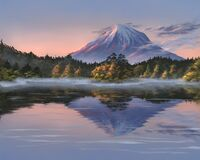 Lonely mountain in autumn evening. Digital illustration of the landscape