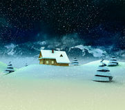 Lonely mountain hut with trees at winter snowfall Royalty Free Stock Image