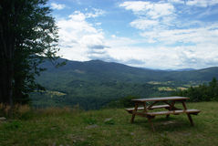 Lonely mountains bench Royalty Free Stock Images