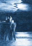 Lonely mystical castle on the cliff above the sea. Sketch illustration. Sketch illustration. Northern landscape. Rock over the sea. Scandinavian nature. Moon vector illustration
