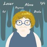 Lonely negative thinking man cartoon  Stock Photo