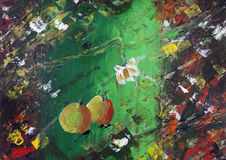 Lonely night autumn apples. On grass and red leaves abstract concept. The acrylic handmade painted art on canvas Royalty Free Stock Photos