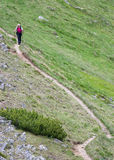 Lonely Nordic Walking. Nordic walking and lonely girl on the mountain path stock image