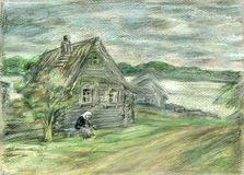 Lonely old lady. Watercolors/pastel illustration, created and painted by photographer. Lonely senior lady sits in front of her old house in desolate village Stock Images