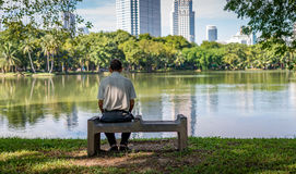 Lonely old man in the park Royalty Free Stock Images