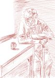 Lonely old man sitting at a table with a cup of tea. royalty free illustration