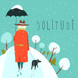 Lonely old man walking with dog in a snowy park Royalty Free Stock Photography