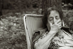 Lonely old woman Royalty Free Stock Images