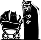 Cat Lady with Baby Carriage Royalty Free Stock Photography