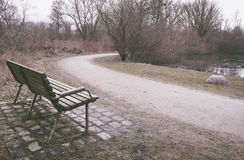 Lonely old wooden bench in a park Stock Photos
