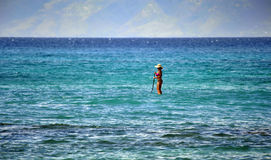 Lonely Paddler off the Coast of Maui, Hawaii, Azure Blue Ocean. Seemingly walking on water, a paddler stands in the azure blue tropical waters off Maui Hawaii Stock Photos