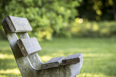 A lonely park bench. Of spring with green lawn and green background. Picture from Holland stock images
