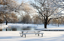 Lonely park in christmas eve. Christmas' bench in the park Stock Photos