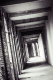 Lonely passage. A black and white photo of a deserted passage Stock Photography