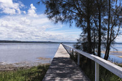 Lonely pathway, wooden jetty Royalty Free Stock Photo