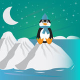 Lonely penguin. Beatiful cartoon with lonely penguin Royalty Free Stock Photography