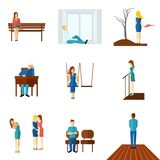 Lonely People Flat Icon Set Stock Photography