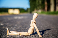Lonely people. I use dummy and no car to the road show a lonely scene Stock Images