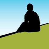 Lonely Person vector illustration