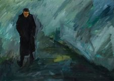 Lonely person in the drizzling rain. Man in black coat and boots walking on the road. royalty free illustration