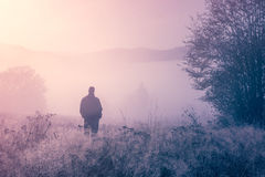 Lonely person in the morning mist. Royalty Free Stock Photos