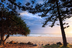 Lonely person strolls along Burleigh Heads Stock Photos