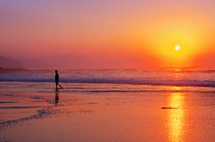 Lonely person walking on beach at sunset. Lonely person walking on the beach at sunset royalty free stock photos
