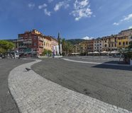 Lonely pigeon in Piazza Garibaldi in Lerici, La Spezia, Liguria, Italy stock photography