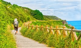 Lonely Pilgrim with backpack walking the Camino de Santiago in S. Pain, Way of St James Stock Photography
