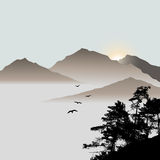 Lonely pine on the mountains background with flying birds Royalty Free Stock Photos