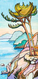 The lonely pine. Over breakage at the sea vector illustration