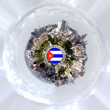 Lonely Planet - Cuba. Abstract round panorama of Havana. An invitation to travel royalty free stock photography