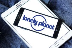 Lonely Planet logo. Logo of Lonely Planet on samsung mobile. Lonely Planet is the largest travel guide book publisher in the world royalty free stock photo