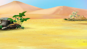 Lonely Plant in a Desert Stock Image