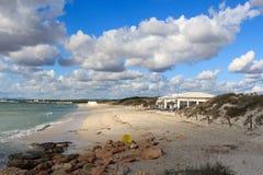 Lonely Platja Es Trenc beach panorama, beach bar and Mediterranean Sea on Majorca Stock Photo