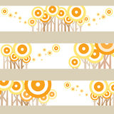 Lonely pop yellow and orange graphic tree. With different layout Royalty Free Stock Images