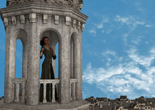 Lonely Princess Looking Mirror Tower Illustration Stock Image